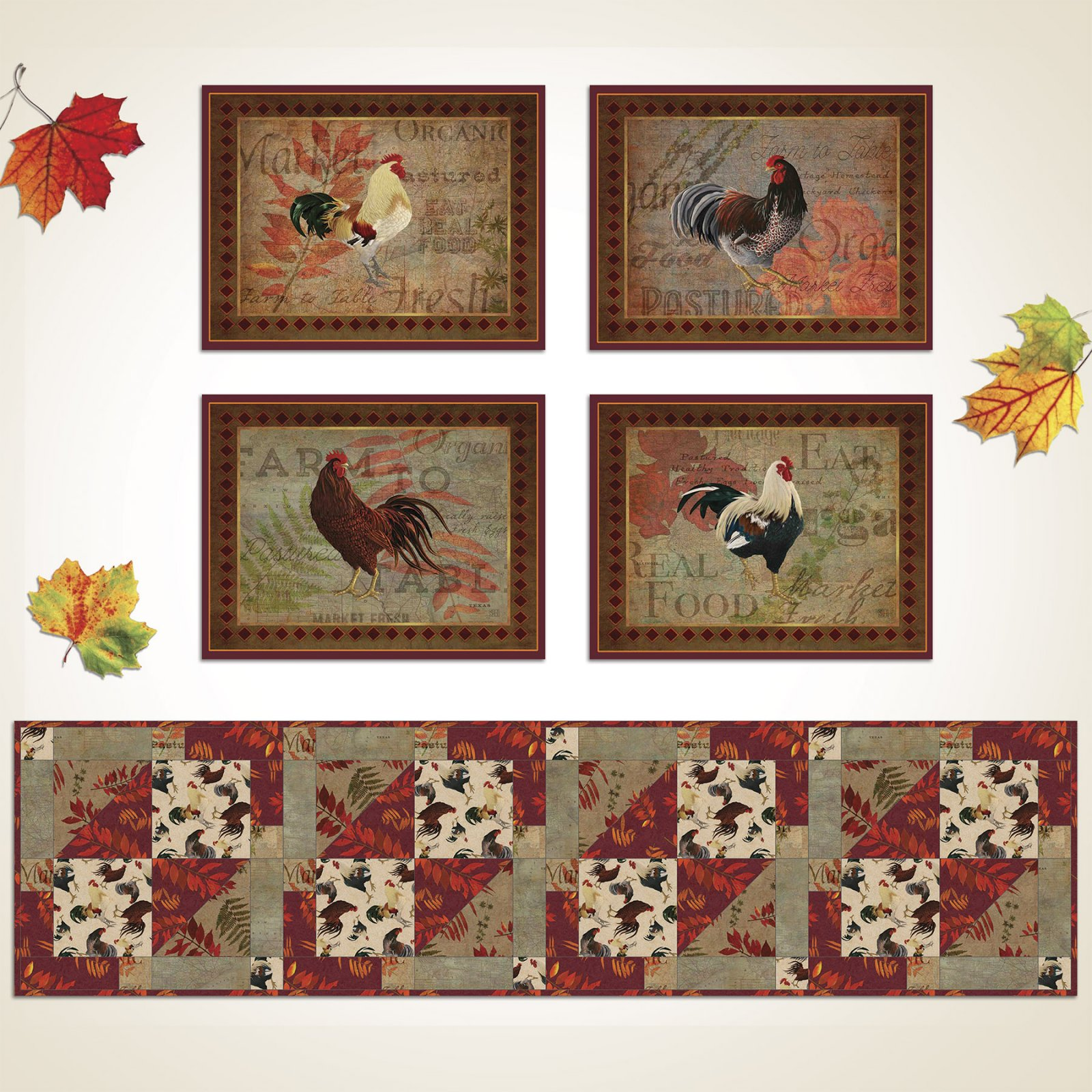 3 Wishes Fabric<br>Rustic Roosters Table Runner and Placemats
