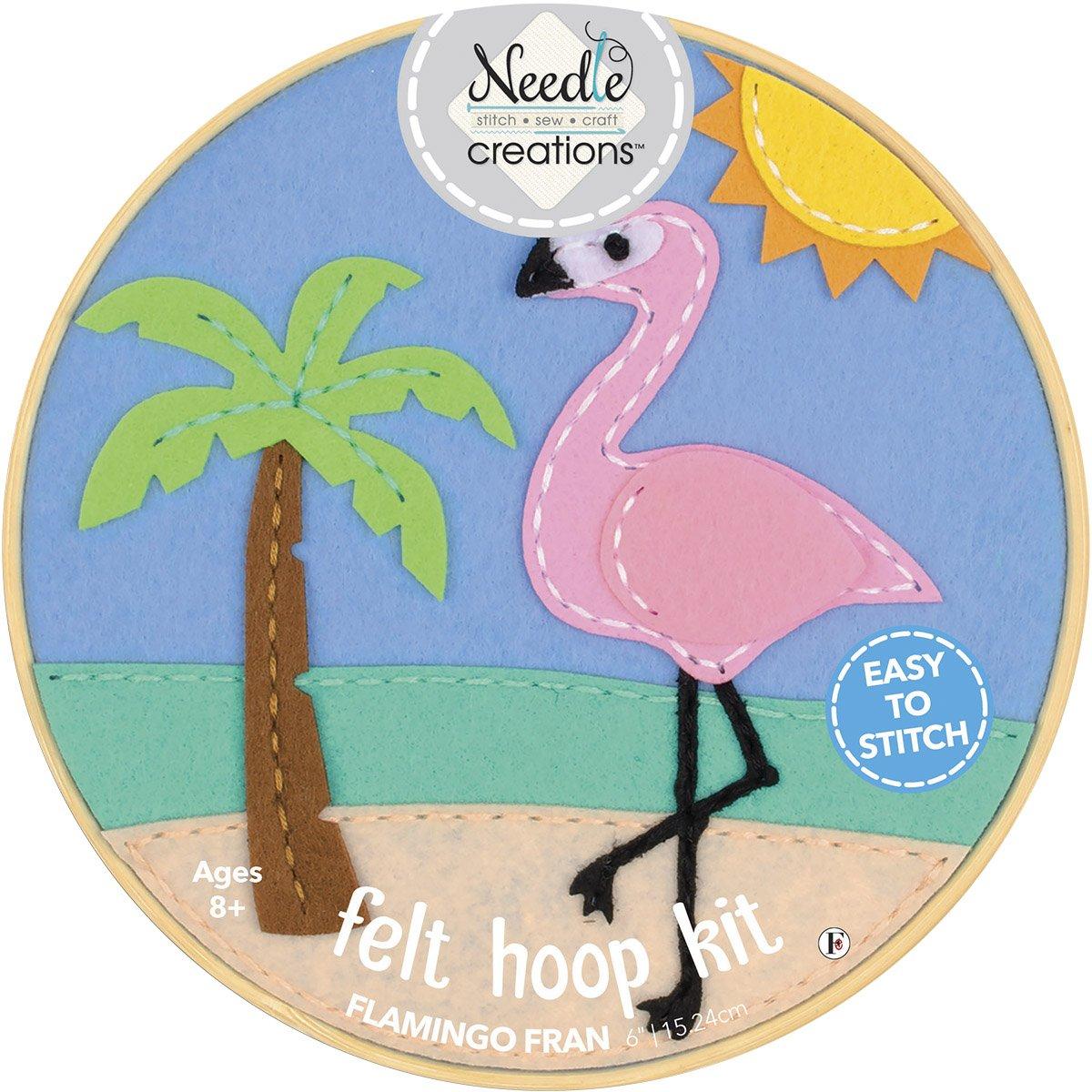 Needle Creations<br>6 Felt Hoop Kit Flamingo<br>NC-FHP-FLMGO6
