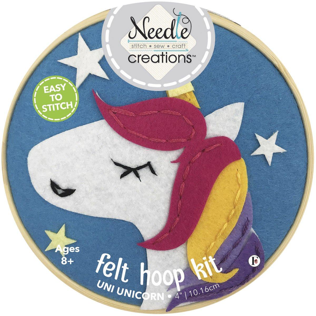 Needle Creations<br>4 Felt Hoop Kit Unicorn<br>NC-FHP-UNCR4