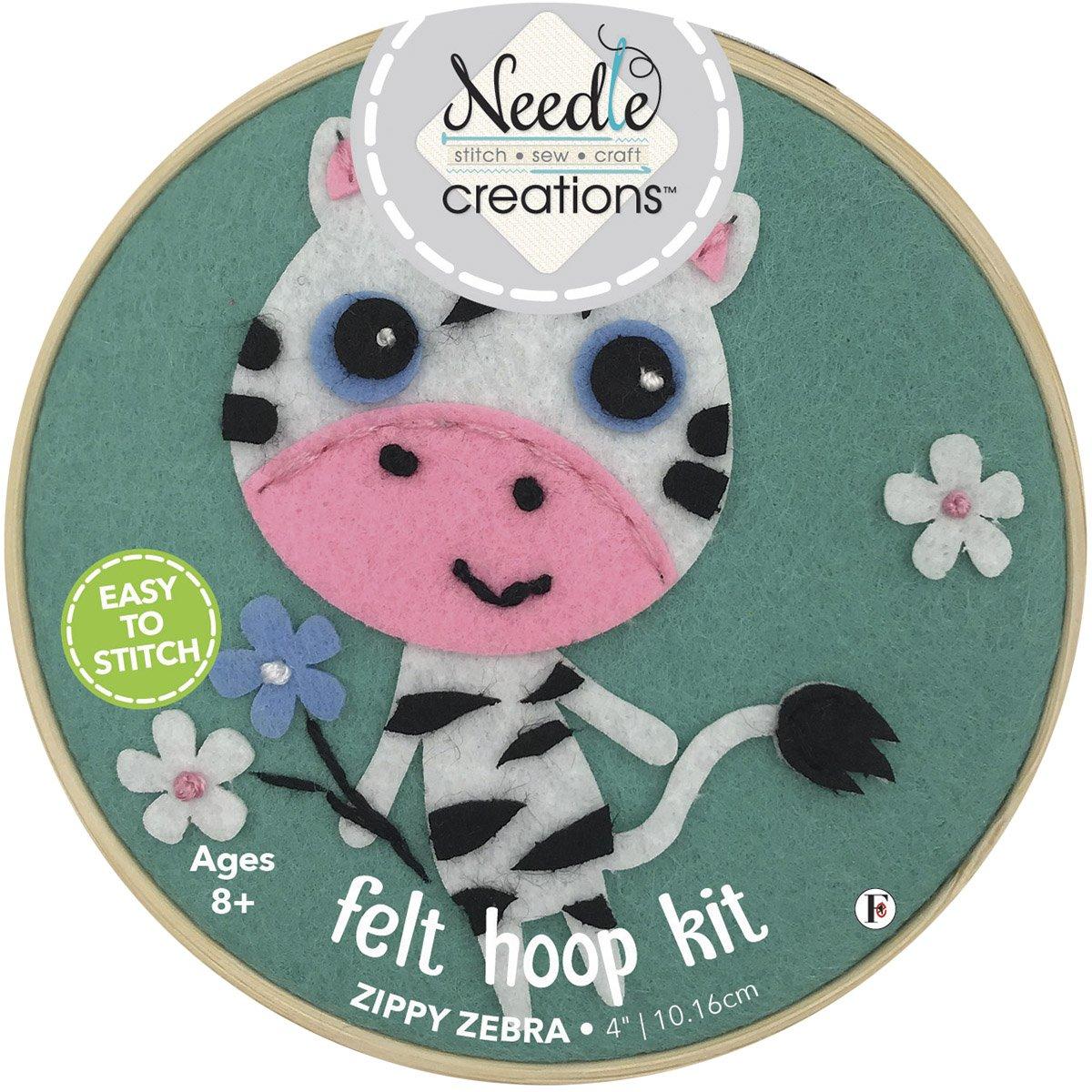 Needle Creations<br>4 Felt Hoop Kit Zebra<br>NC-FHP-ZBR4