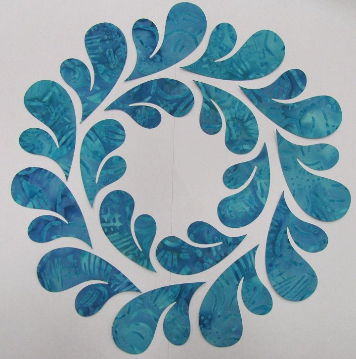 Pre-Cuts: 10.5 inch Feathered Wreath Block with Turquoise Feathers