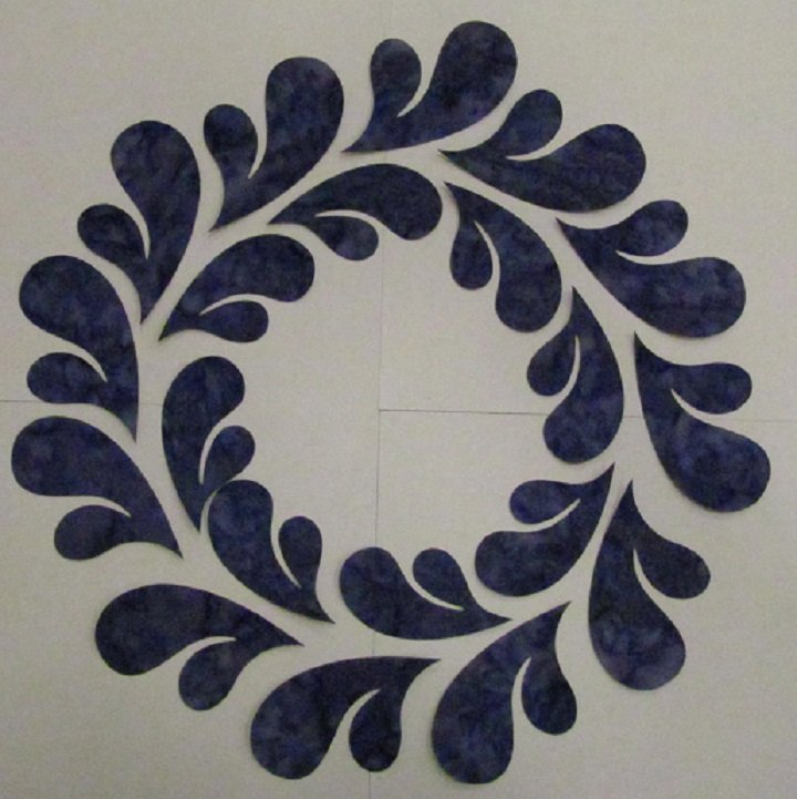 Pre-Cuts: 11.5 inch Feathered Wreath Block with Purple Feathers