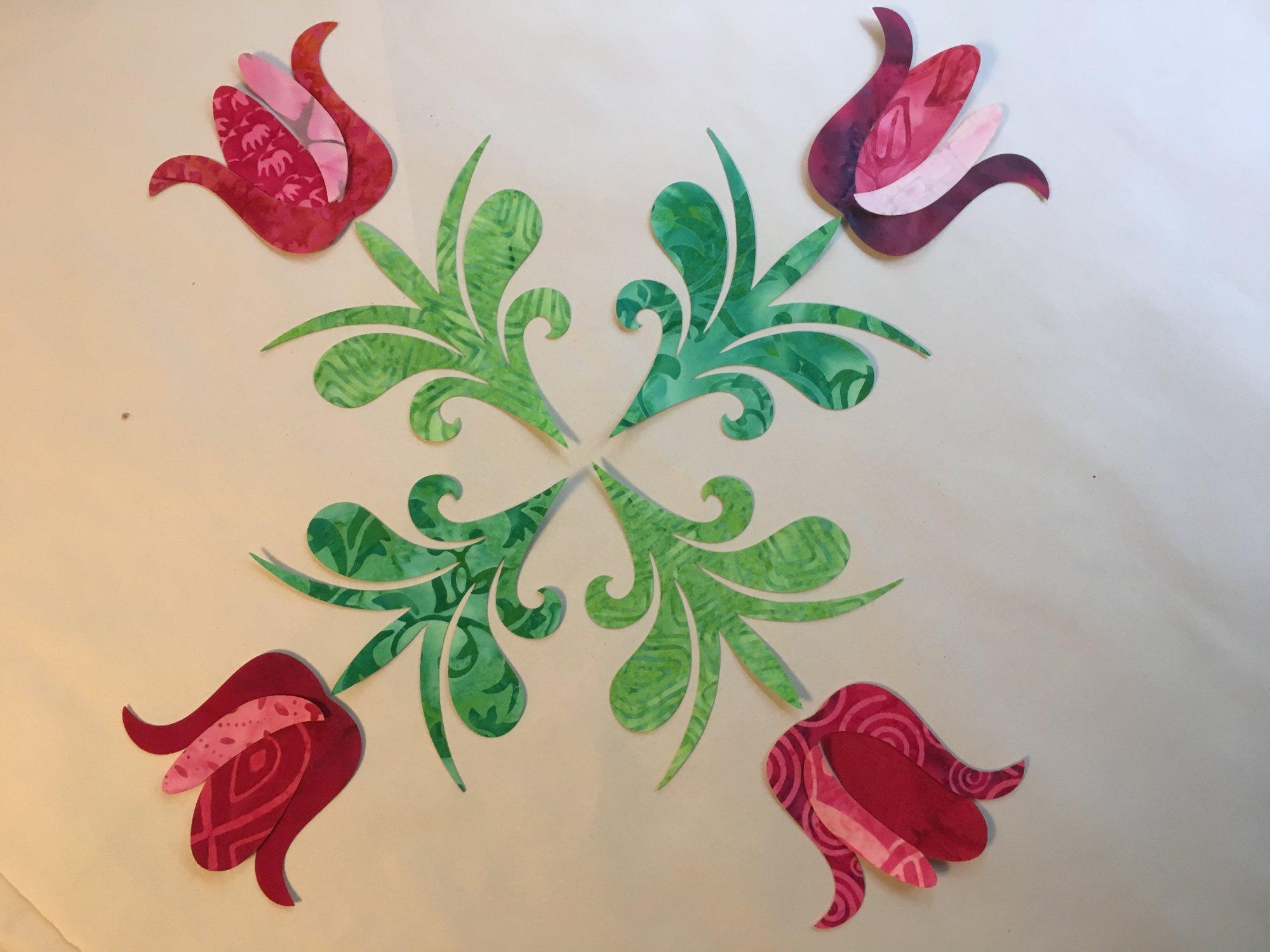 Pre-cuts: Tulip Quartet Block in Reds/Pinks