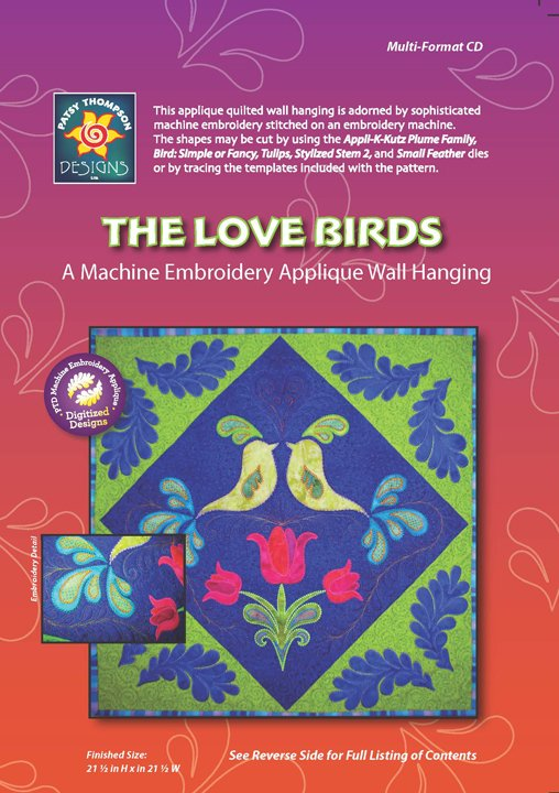 The Love Birds: a Machine Embroidery Applique Wall Hanging Multi-Format CD