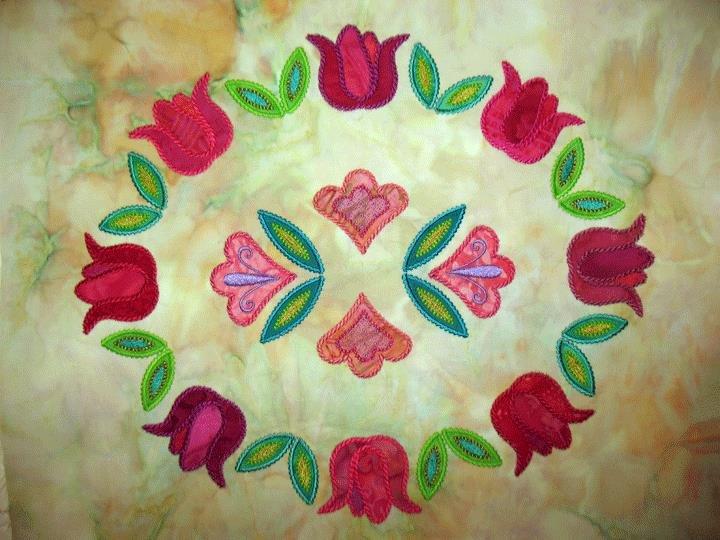 Oval Tulip Wreath Block: a MEA Digitized Design