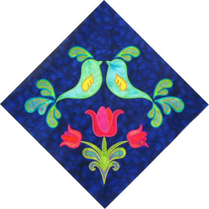 Bird Block #1 (Stitched as 4 Part Design)