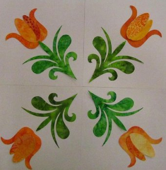 Pre-cuts: Tulip Quartet Block in Oranges
