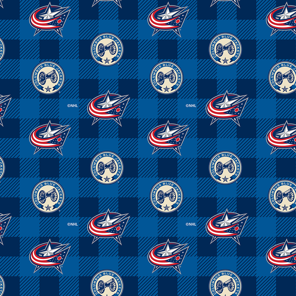 1190-CBJ NHL Columbus Blue Jackets Buffalo Plaid fleece