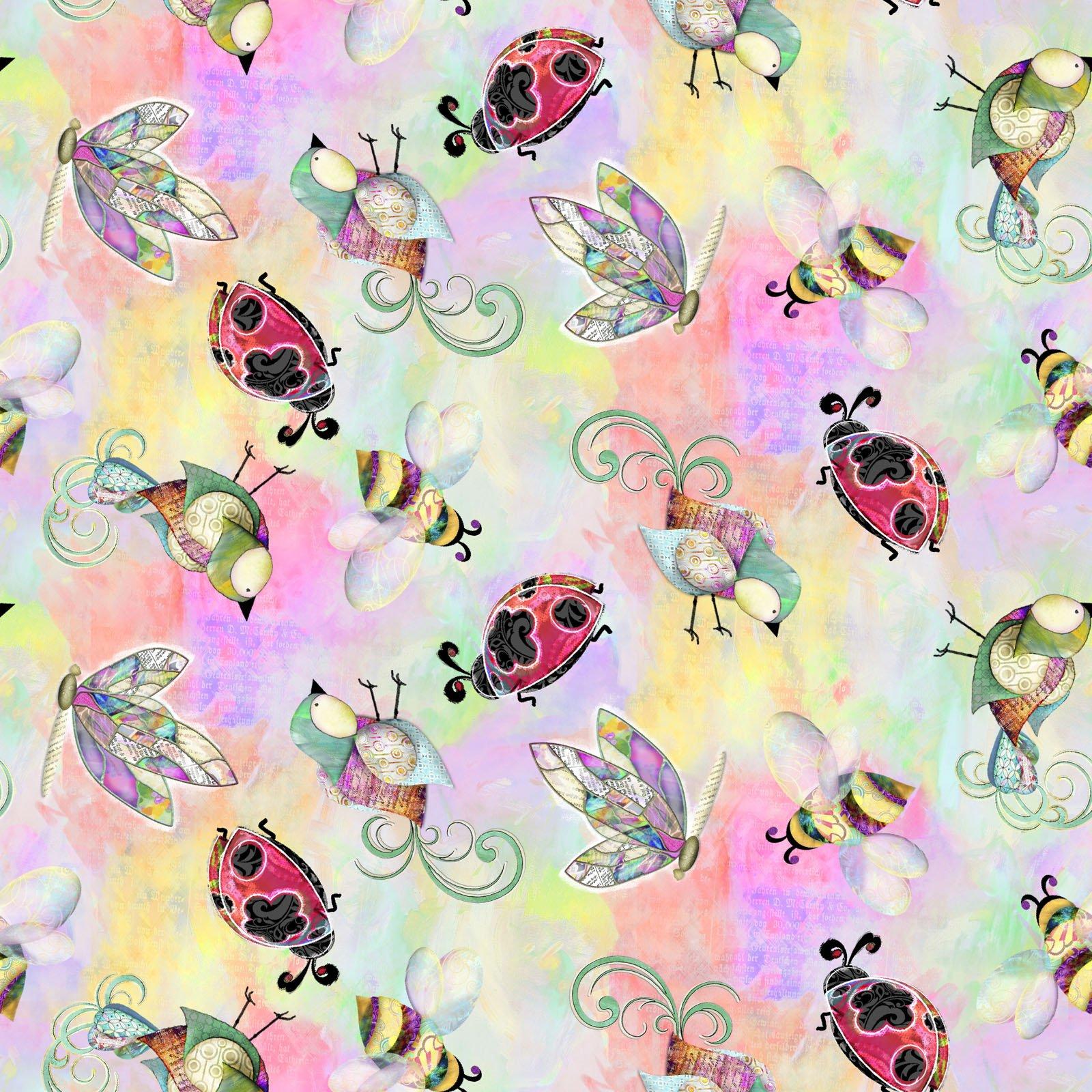 14493-MULTI Dragonflies Birds Bugs