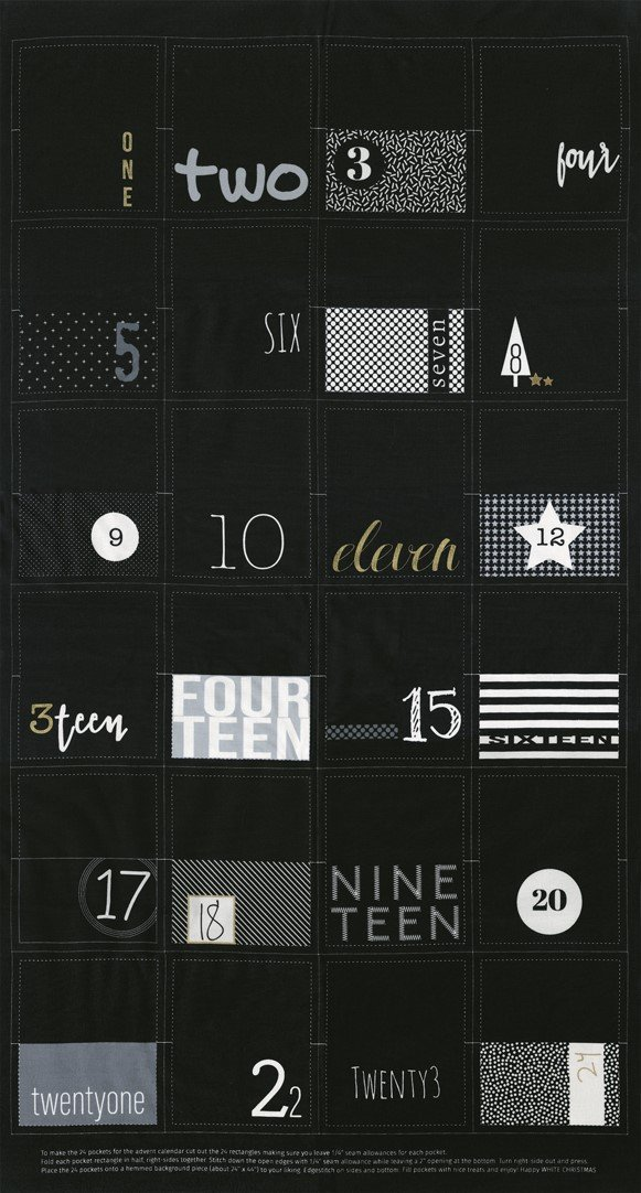 1650-14M White Christmas Advent Calendar Panel black with metallic