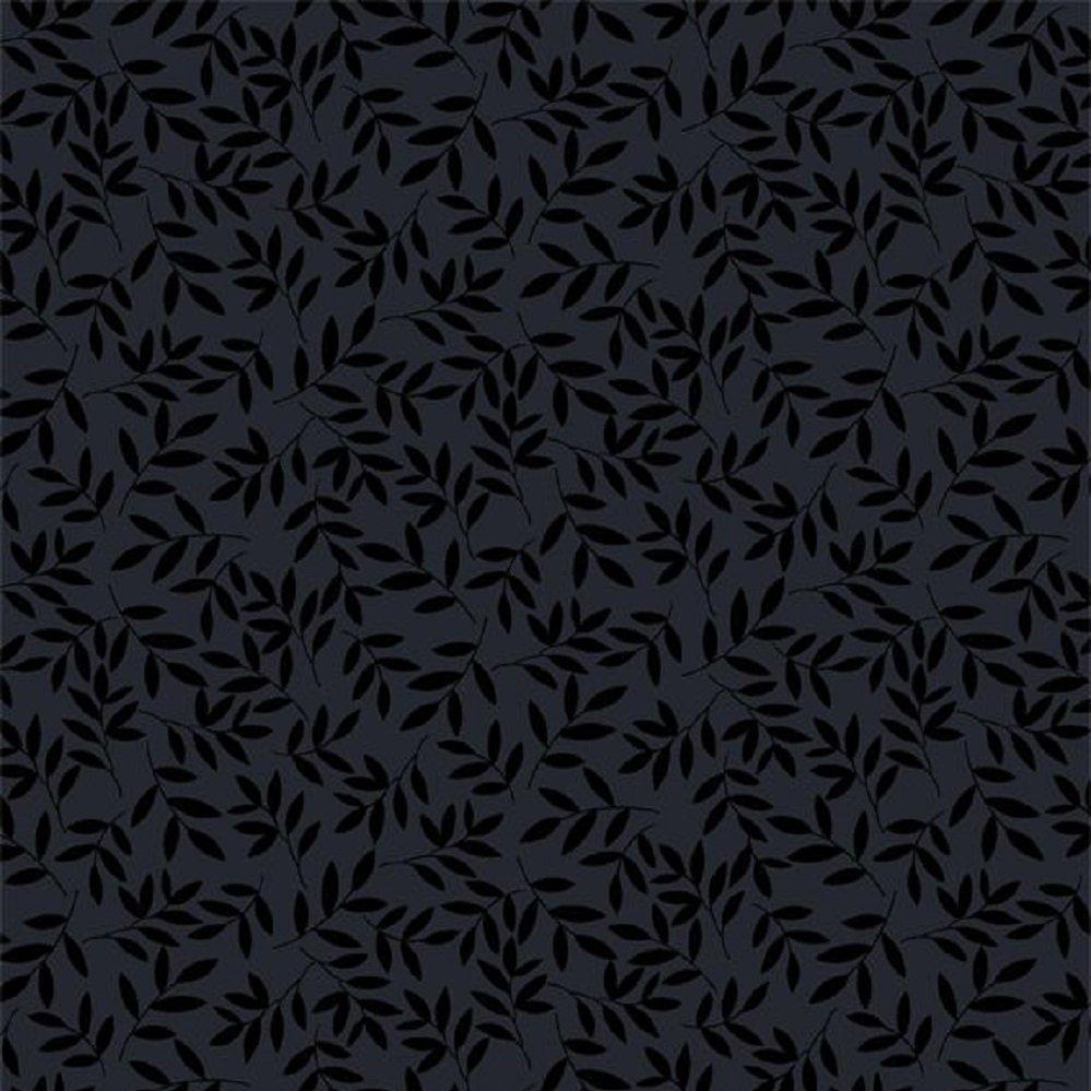 1817-39128-999 Tossed Leaves tonal black