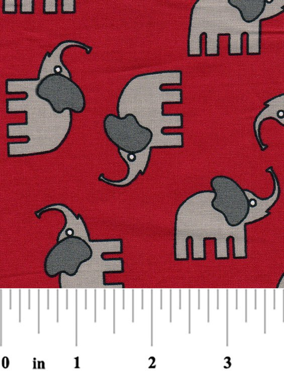 1885 Large Elephants gray on red