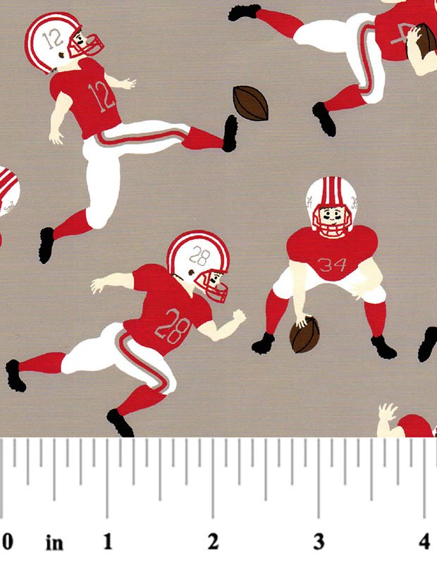 1955 Football Players red and gray