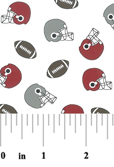 2063 Helmets and Footballs red gray brown on white