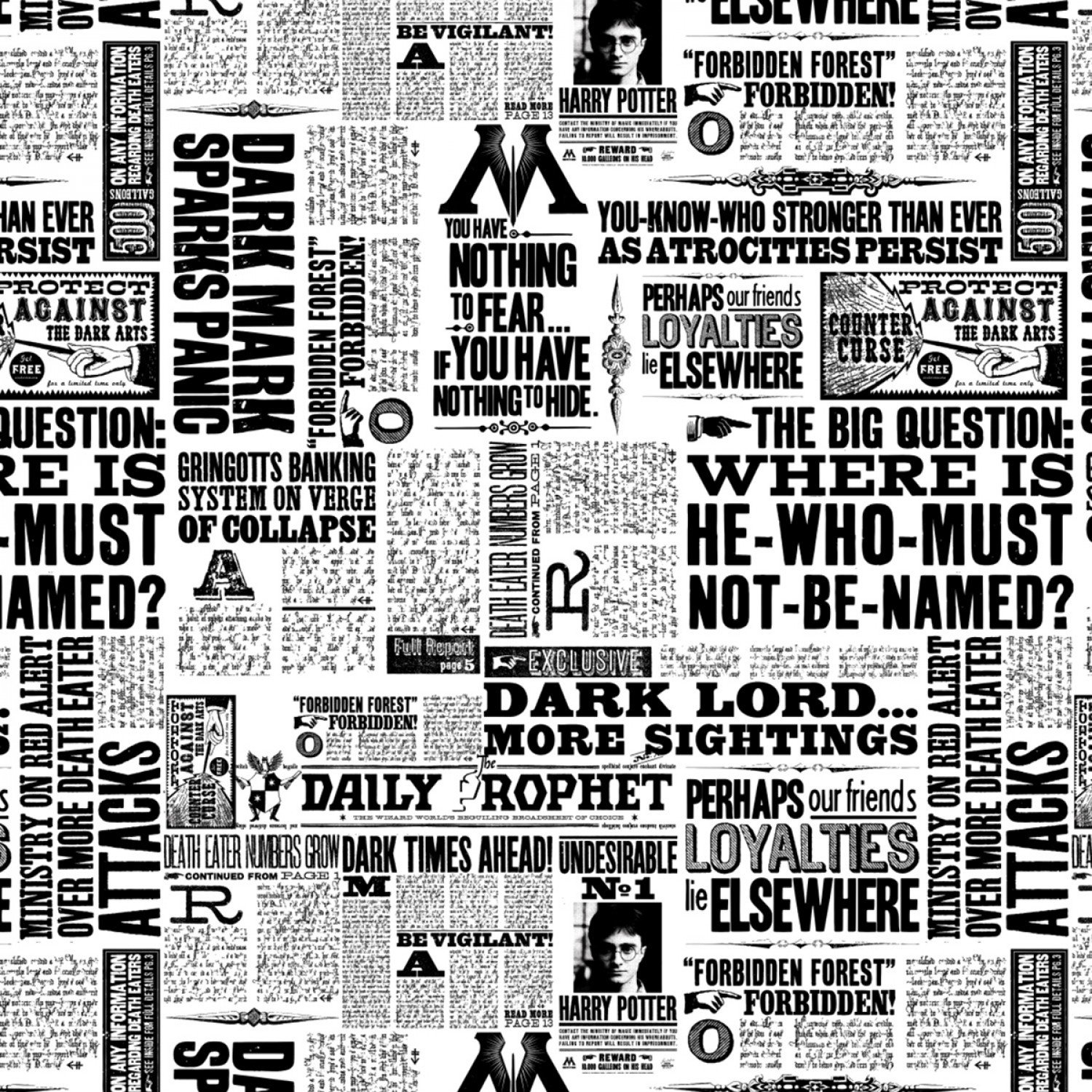 23800120-1 Harry Potter Newsprint white black