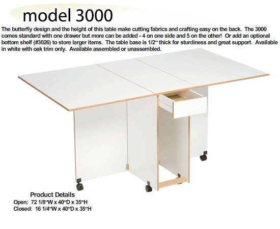 Sylvia 3000W Cutting/Craft Table assembled