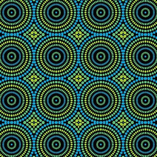 3426-55 Mosaic Dots blue green