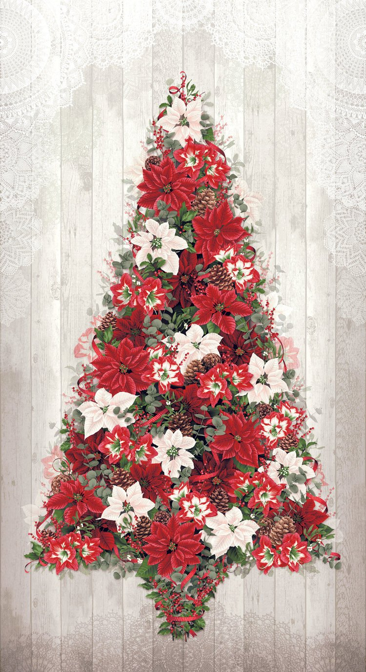 3509-001 COZY CHRISTMAS TREE WINTER WHITE PANEL DIGITAL PRINT