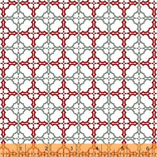 41597-2 Geometric Grid white red gray