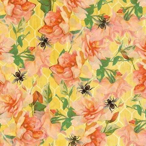 5122-44 Watercolor Roses and Bees multi