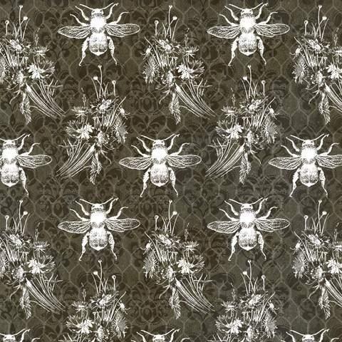 5123-99 Bees on Honeycomb chalkboard gray