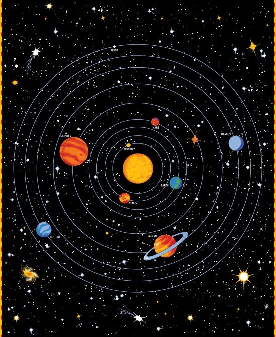 9026pg 99 solar system panel multi on black for Solar system fabric panel