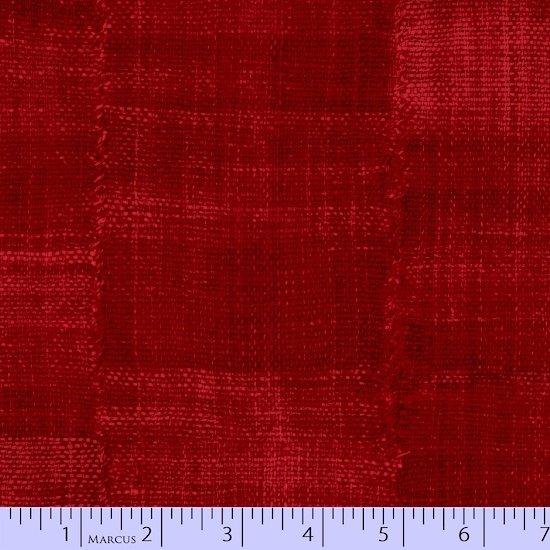9801-0111 Denim Patchwork Texture crimson red