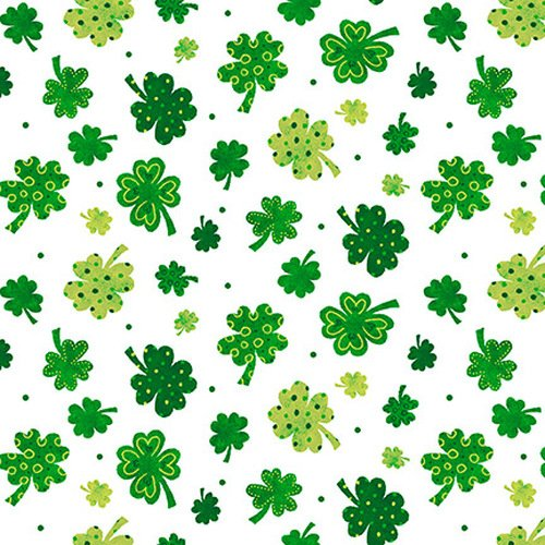 9909-01 Tossed Clovers green on white