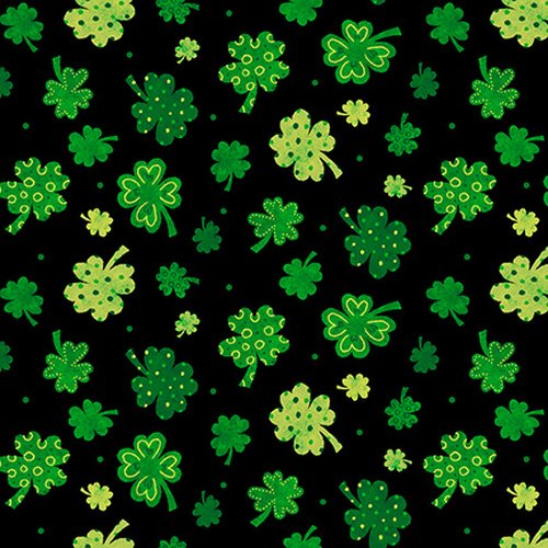 9909-99 Tossed Clovers green on black