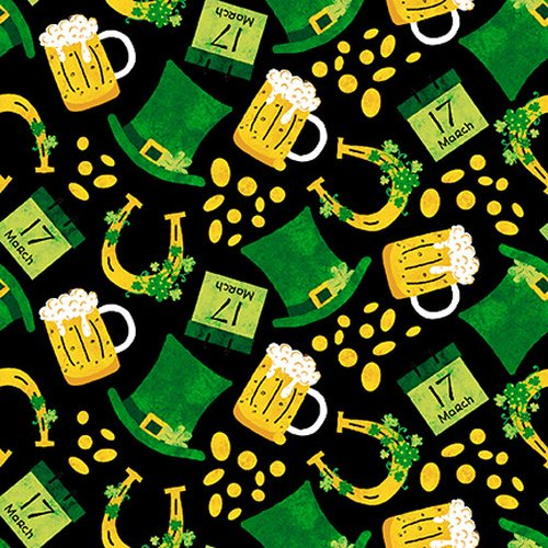 9910-99 Tossed Hats and Beer green and gold on black
