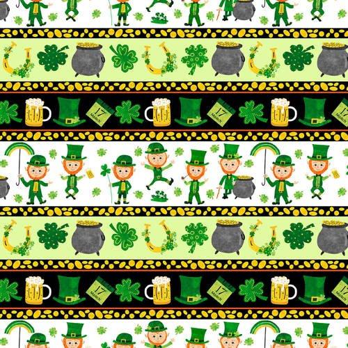 9911-66 Leprechauns Border Stripes green gold black white