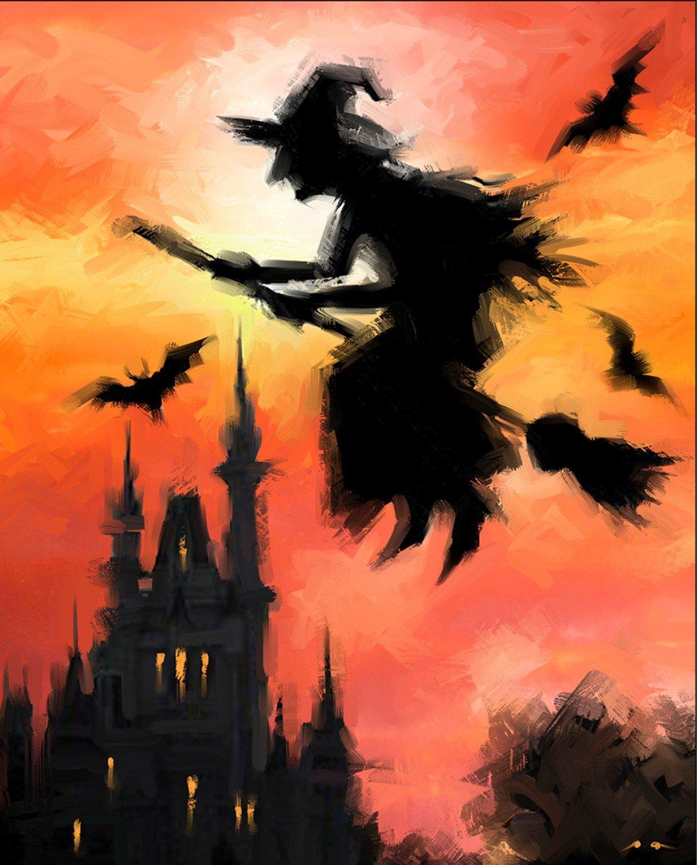 AL38329C1 Halloween Witch on Broom Panel