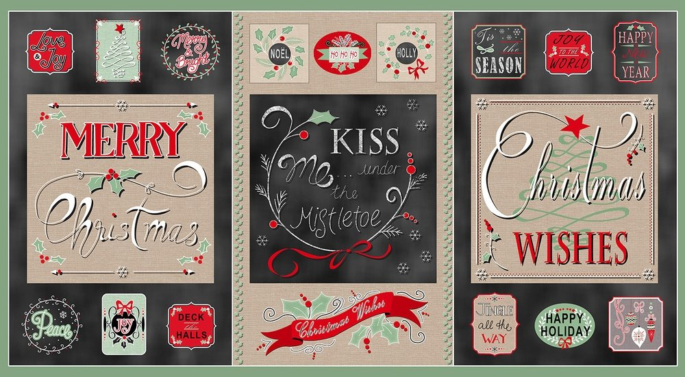B-8168P-94 Christmas Wishes Panel black/cream