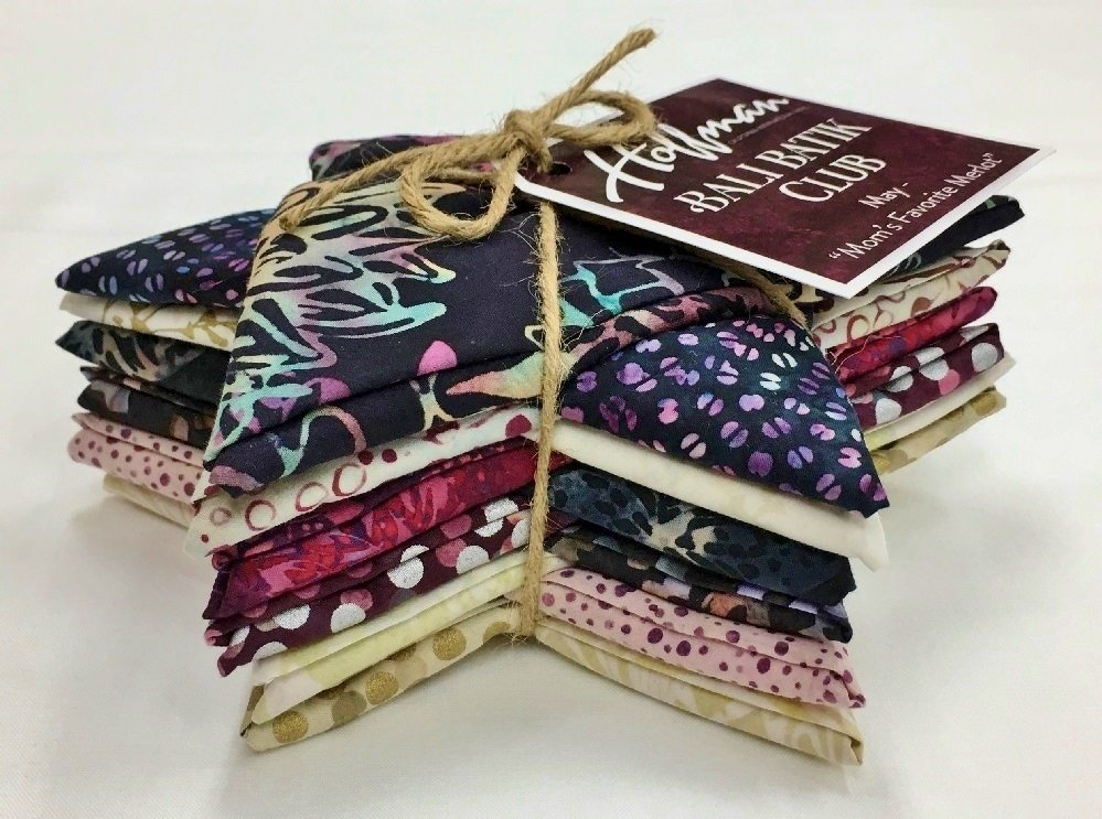 Bali Batik MOM'S FAVORITE MERLOT Fat Quarter Bundle FQAUTO-590-May