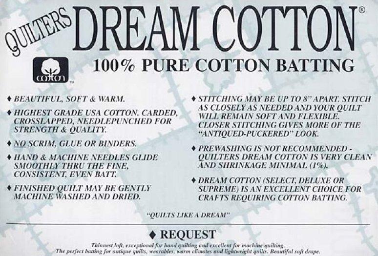 Batting Natural Cotton Request 93x72 Twin