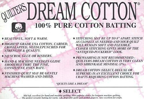 Batting White Cotton Select 93x72 Twin