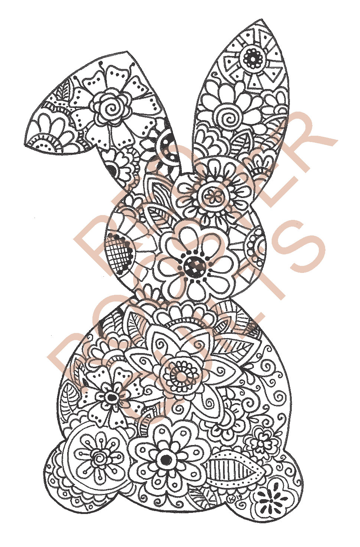 Zentangle Inspired Bunny (large) Swatch - RRQ Original