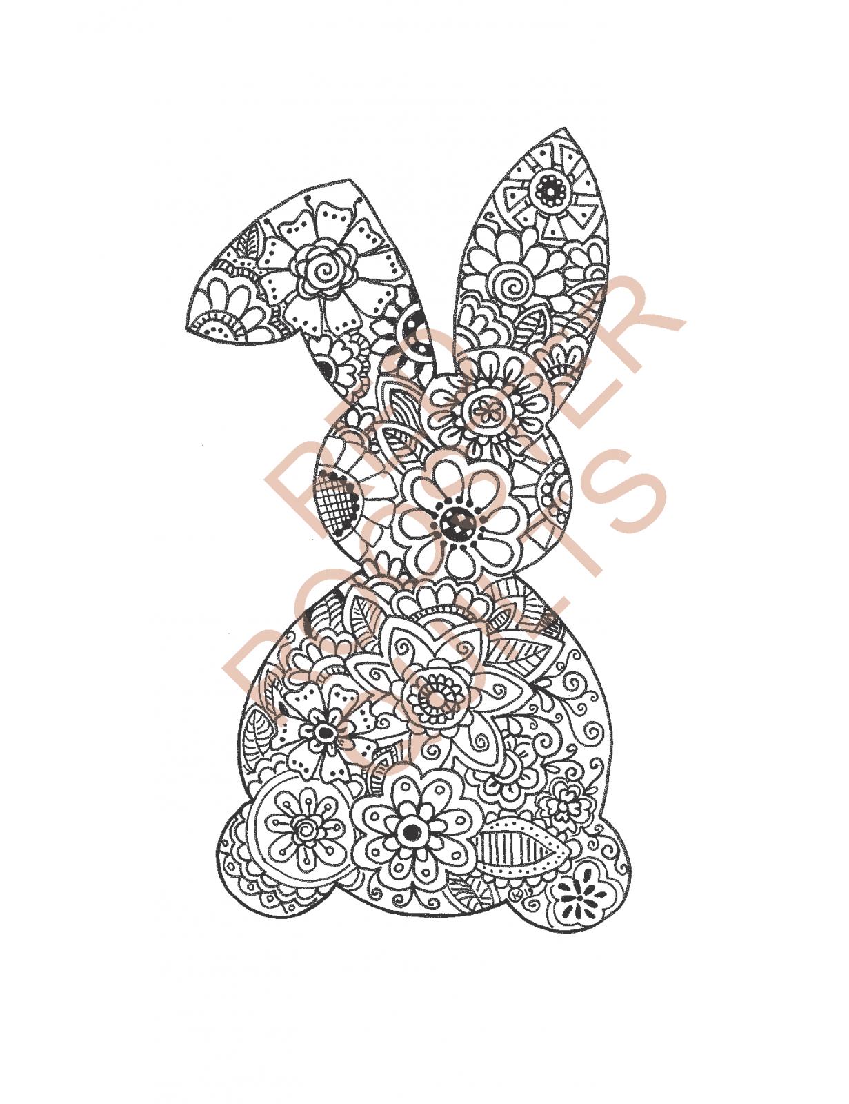 Zentangle Inspired Bunny (small) Swatch - RRQ Original