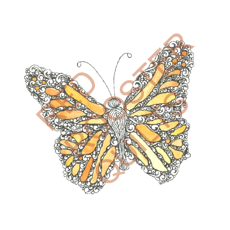Zentangle Inspired Butterfly (color) Swatch - RRQ Original