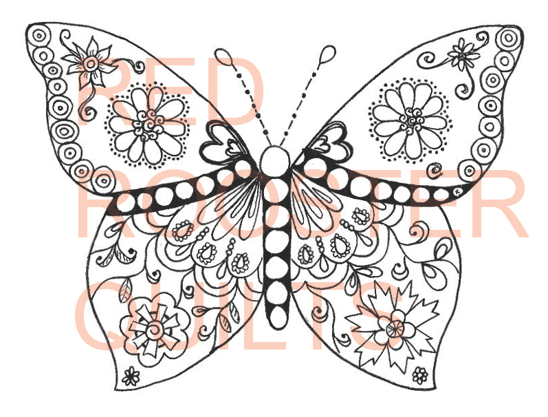 Zentangle Inspired Butterfly (b&w) Swatch - RRQ Original