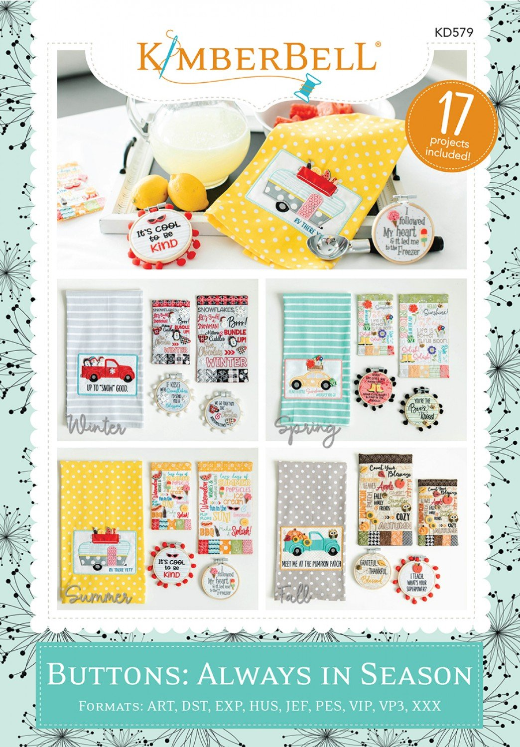 Buttons: Always in Season Machine Embroidery Patterns CD