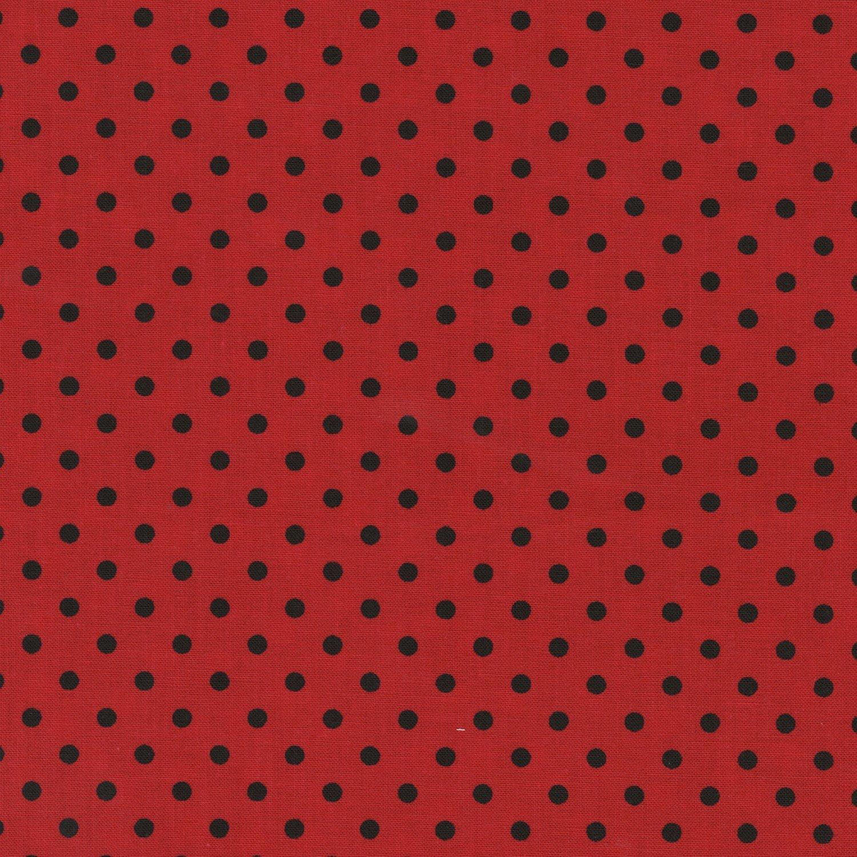 Dot-C1820-Ladybug Dots black on red