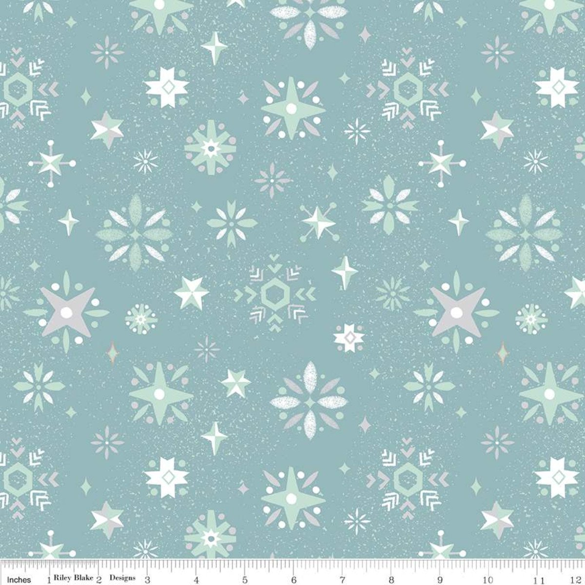 C7324-BLUE Modern Snowflakes white on blue