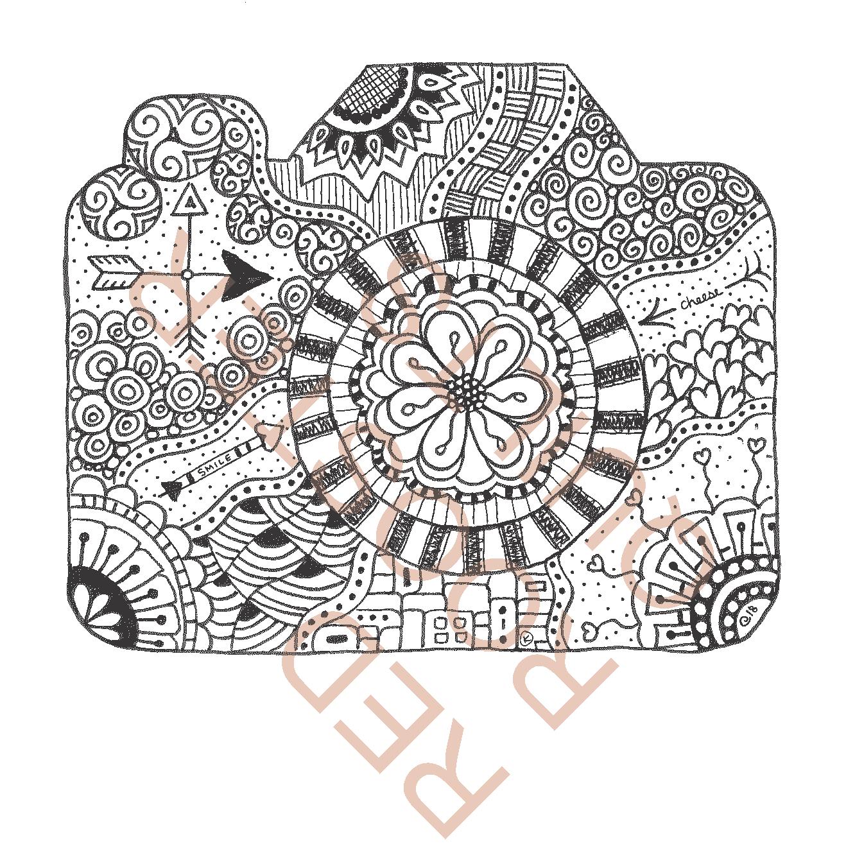 Zentangle Inspired Camera (small) Swatch - RRQ Original