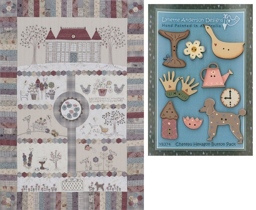 Chateau Hexagon 9 Patterns and Wooden Buttons Pack