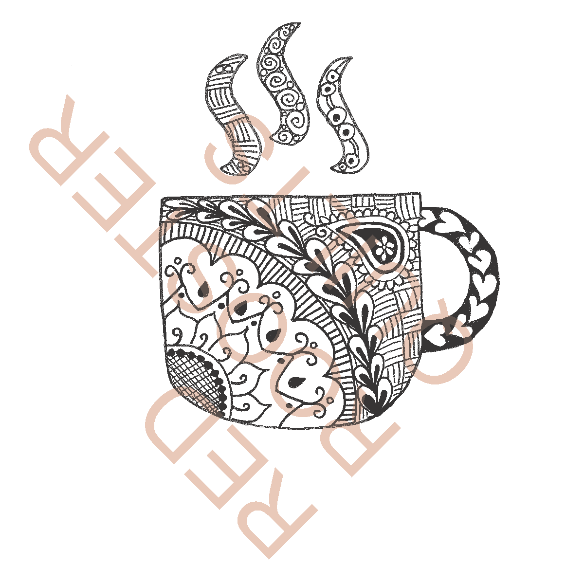Zentangle Inspired Coffee Cup (large) Swatch - RRQ Original
