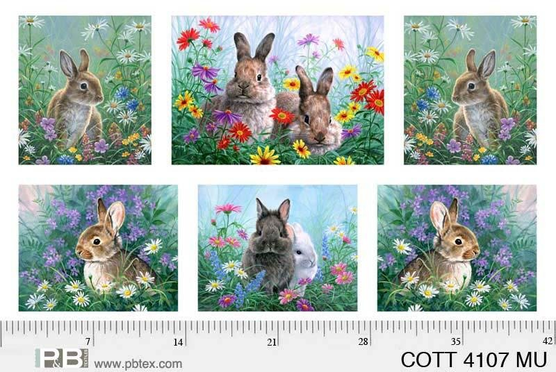 COTT-4107-MU Cotton Tales Bunny Panel multi