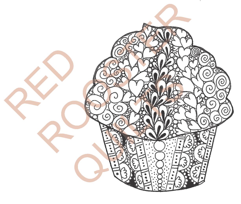 Zentangle Inspired Cupcake (large) Swatch - RRQ Original