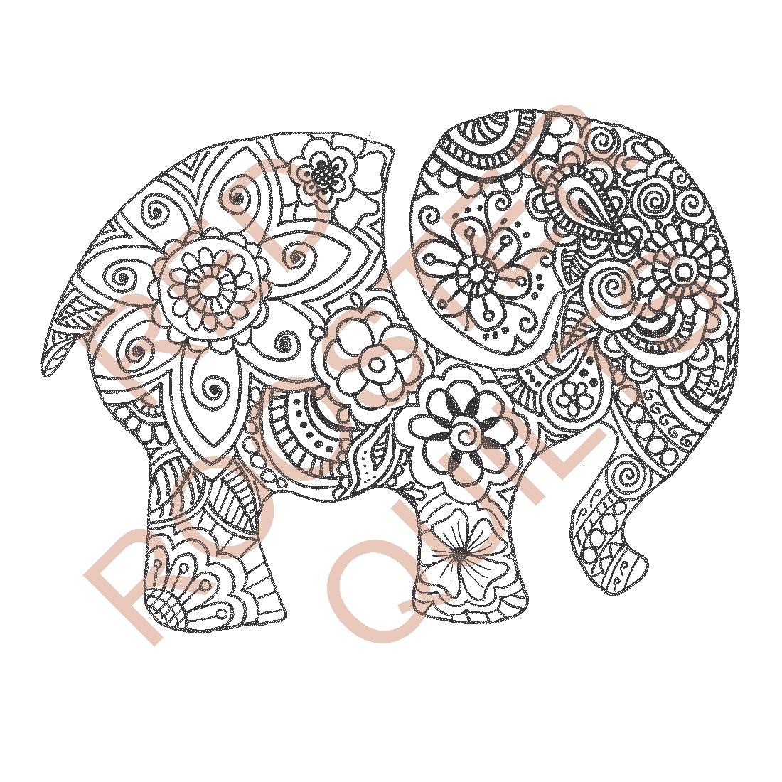 Zentangle Inspired Elephant Swatch - RRQ Original