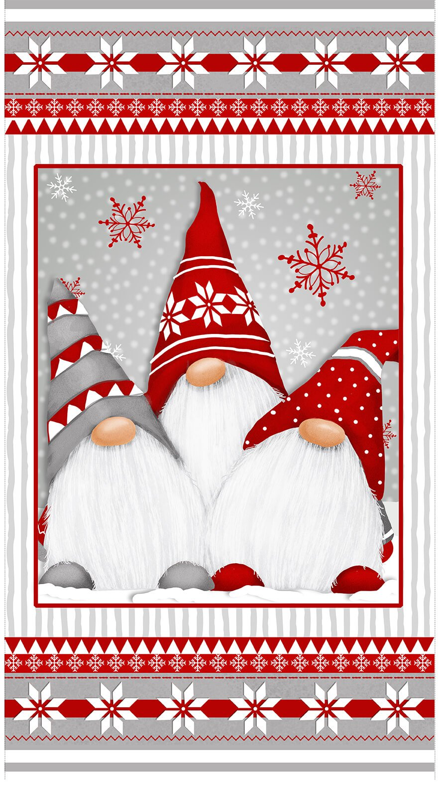 F1622P-89 Winter Whimsy Gnomes Panel red gray white